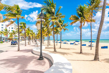 Seafront Beach Promenade With Palm Trees On A Sunny Day In Fort Lauderdale