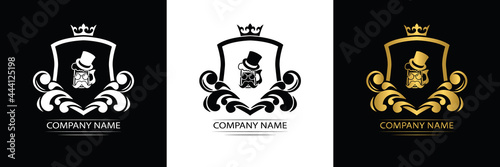 beer, beer pub logo template luxury royal vector company decorative emblem with Fotobehang