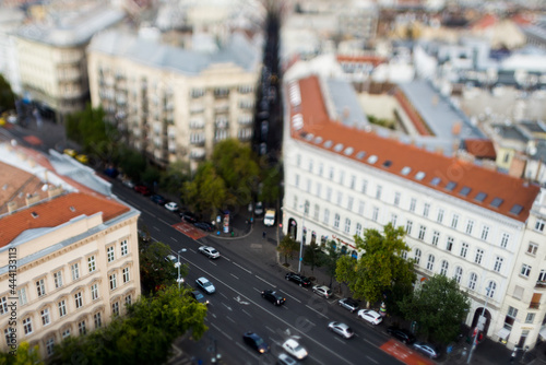 Fotografiet High Angle View  Of Rooftops And A Boulevard In Budapest With Tilt-shift Effect