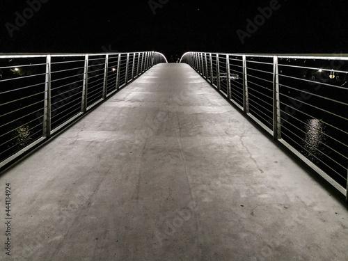 Photo Empty Footbridge At Night