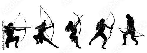 Fotografie, Obraz female fantasy archer warrior action silhouette