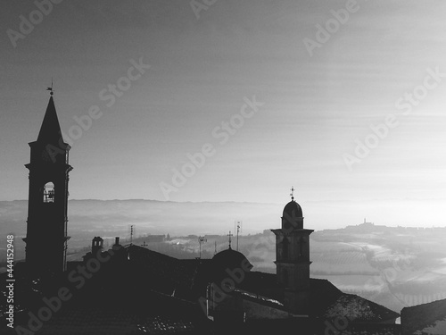 View Of Church Tower Black And White Fototapet