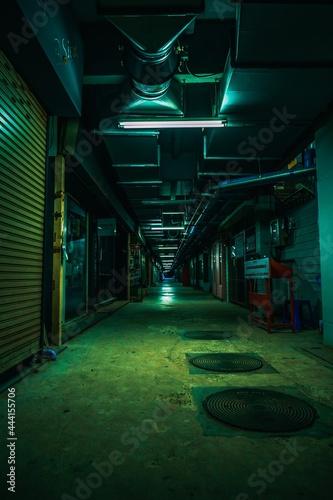 Canvas Print Empty Illuminated Underground Walkway