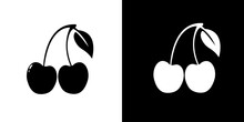 Cherries Icon Isolated On Black And White Background. Vector
