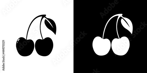 Tela Cherries icon isolated on black and white background. Vector