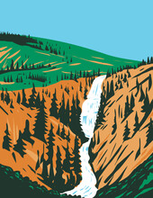 WPA Poster Art Of Undine Falls, A 3-tiered Waterfall On The Lava Creek In Northern Yellowstone National Park, Wyoming USA Done In Works Project Administration Style Or Federal Art Project Style.