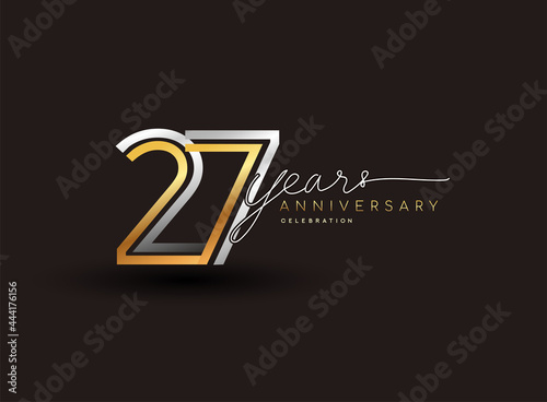 27th years anniversary logotype with multiple line silver and golden color isolated on black background for celebration event Fototapeta