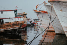 Ships Anchored In The Port Of Muara Baru At Noon After Sailing In The Ocean To Catch Fish
