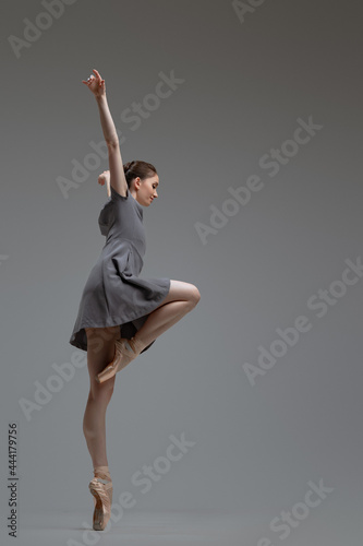 Fotografie, Tablou Flexible ballerina wearing gray dress against gray background