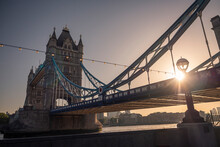 Low Angle View Of Tower Bridge Against Sky During Sunrise