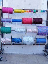 Strong Boat Ropes Of Different Colors Of Reels Bobbins Of Colored Rope In Store