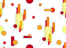 Geometric Seamless Pattern With Yellow, Red And Orange Rectangles And Circles On A White Background. Vector Drawing For The Design Of Wallpaper, Fabrics, Packaging And Other.