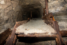 Old Wooden Dump In An Abandoned Coal Mine Tunnel