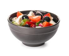 Bowl With Tasty Greek Salad On White Background