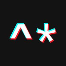 Asterisk Symbol . Social Media Concept. Isolated On Black Background.