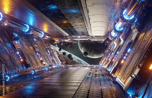 Fototapeta Orange and blue futuristic spaceship interior with window view on distant planet
