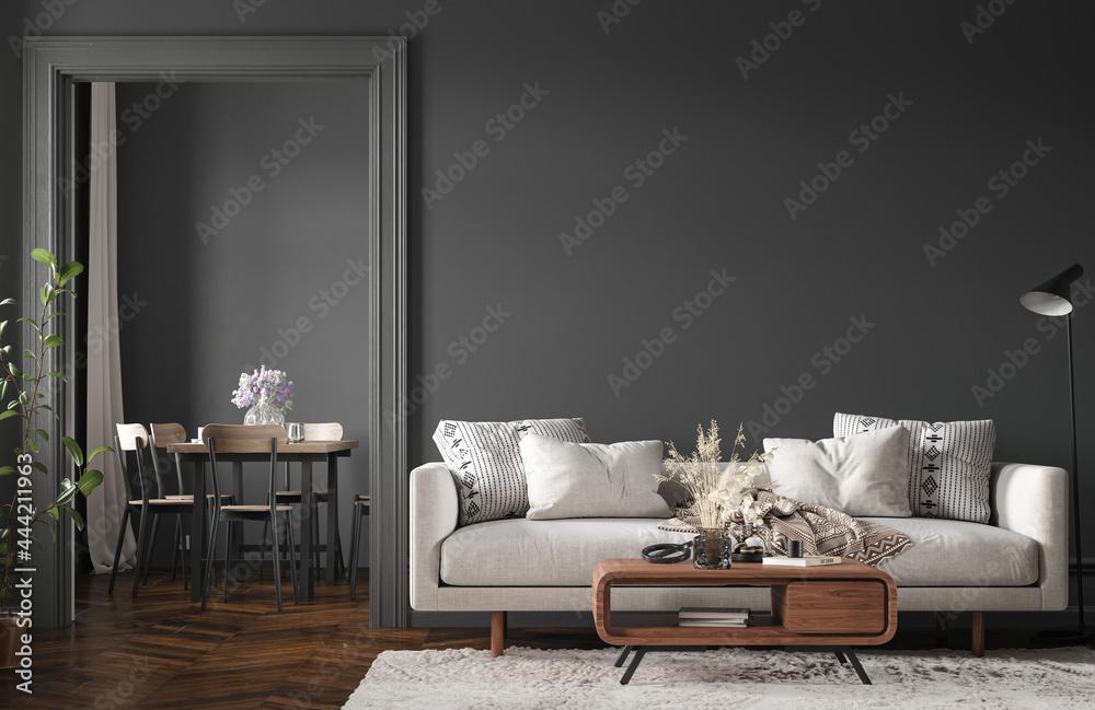 Home interior, modern dark living room interior, black empty wall mock up, 3d render - obrazy, fototapety, plakaty
