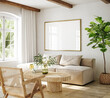Leinwandbild Motiv Mockup frame in living room interior of Spanish villa, 3d render