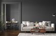 Leinwandbild Motiv Home interior, modern dark living room interior, black empty wall mock up, 3d render