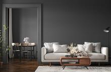 Home Interior, Modern Dark Living Room Interior, Black Empty Wall Mock Up, 3d Render