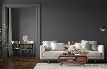 Fototapeta na wymiar Home interior, modern dark living room interior, black empty wall mock up, 3d render
