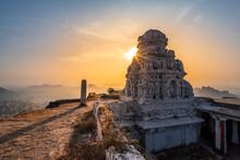 View Of Matanga Hill During The Sunrise, Unesco World Heritage Town In Hampi, Karnataka, India