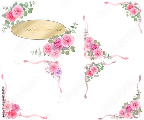 Fotografia, Obraz 華やかなバラの花と植物のクリスタル宝石が散りばめられたリボン付き美しい白バックフレームセット
