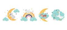 A Set Of Cute Funny Animals With A Moon, A Cloud And A Rainbow. Ready-made Vector Prints For Decorating Children's Rooms, Posters, Postcards, Paper Products, Fabrics