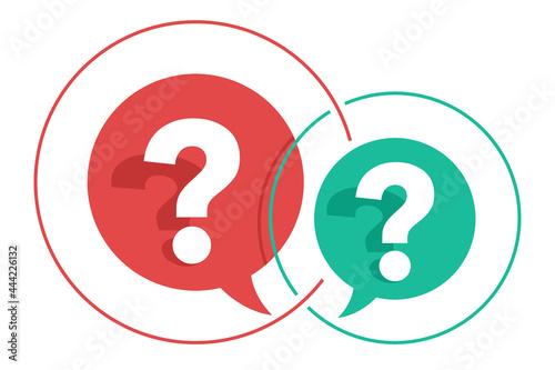 Cuadros en Lienzo Two interacting question marks