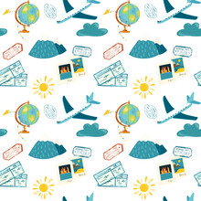 Seamless Pattern Of Tourism Elements (airplane, Globe, Passport Stamps And Air Tickets), Hand Drawn Illustration On White Background