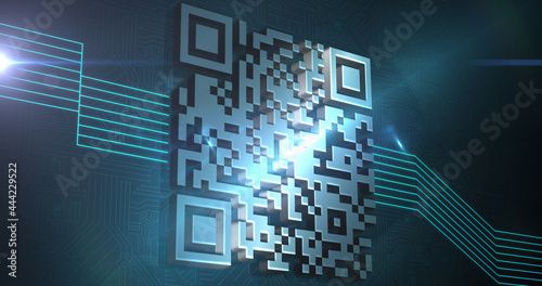 Image of digital qr code with glowing green lines