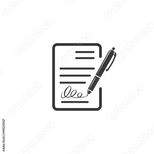 Fotografia Contract document icon, agreement and signature, pact, accord, convention symbol