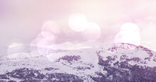 Image Of Winter Scenery Landscape With Light Spots Mountains And Fir Trees Covered In Snow