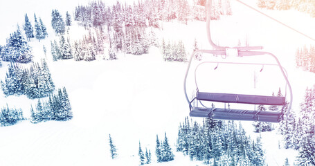 Image of landscape with winter scenery and ski chair lift