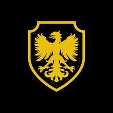 Logo Heráldica Con Silueta De águila Medieval De Pie En Escudo De Color Amarillo Y Fondo Negro