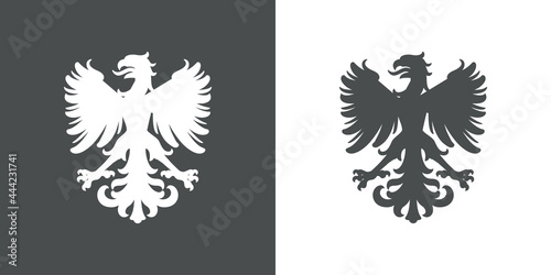 Foto Logo heráldica con silueta de águila medieval de pie en fondo gris y fondo blanc
