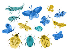 Watercolor Set Of Insects, Butterflies, Grasshoppers, Beetles. Hand Draw Full Color Illustrations For Patterns, Cards, Congratulations, Design.
