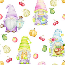 Cute Gnomes, Fruits, Vegetables, Violet Flowers, On An Isolated Background. Watercolor Seamless Pattern In Cartoon Style