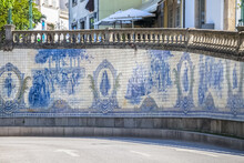 General View Of The Iconic Tile Panel, Designed And Painted By Joaquim Lopes In 1931, Located In Praça Da República Or Praça Do Rossio In Viseu.
