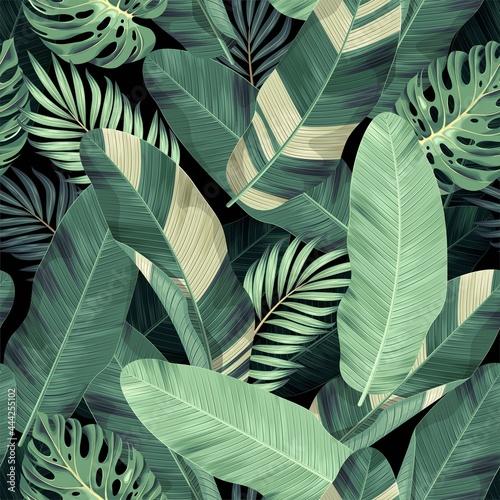 Obraz na plátně Vector seamless pattern with exotic palm leaves