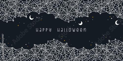 Hand drawn spider web seamless pattern, creepy Halloween background, great for b Fototapet