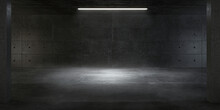 Atmospheric Light In The Modern Futuristic Underground Showroom With A Concrete Wall.
