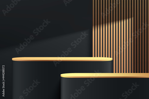 Fotografie, Obraz Abstract 3D black, gold round pedestal podium with golden vertical stripes and shadow