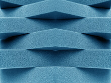 Blue Foam Material Arranged Transversely. Overlapping Pile