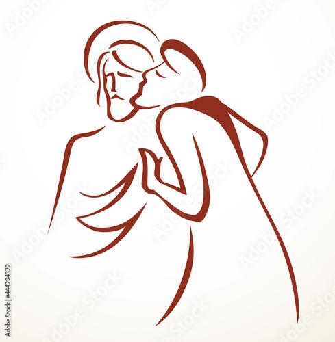 Fotomural Kiss of Judas. Betrayal. Vector drawing