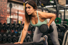 Fitness Woman Athlete Training With Dumbbells In A Gym.