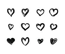 Vector Set Of Hand Drawn Black Hearts On White Background, Decorative Design Elements, Wedding, Valentines Day Illustration.