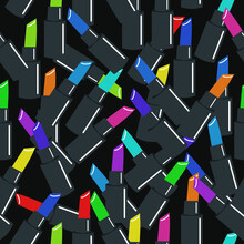 Seamless Vector Pattern With Lipsticks On A Dark Background. A Pattern On The Theme Of Beauty