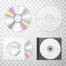 Collection Of Compact Disk Realistic Vector. Audio And Video Player, Keeping Digital Information