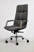 Executive Chair Stainless Steel Armrest, Side Shot, White Background Separated In Front.